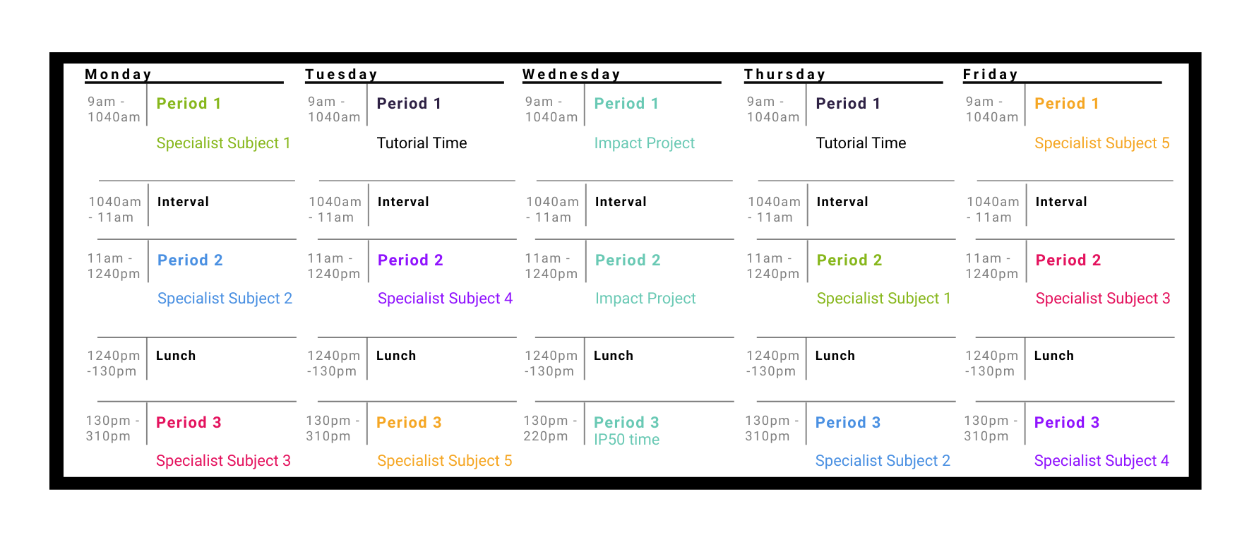 ASHS Daily timetable